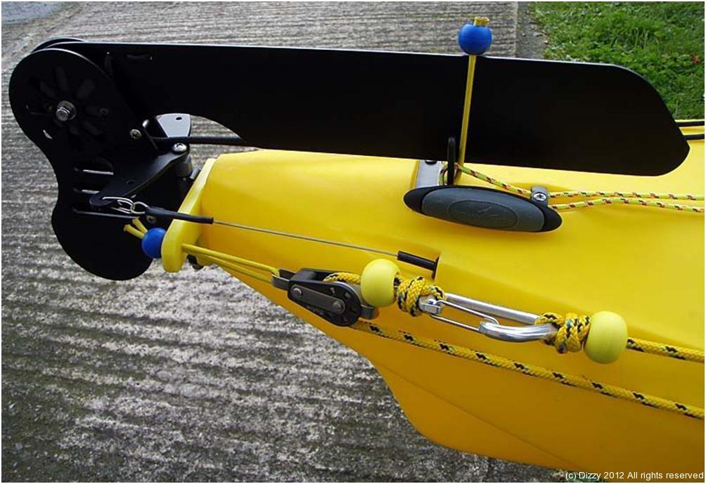Anchor trolley and rudder system dizzyfish kayak fishing for Fishing kayak anchor