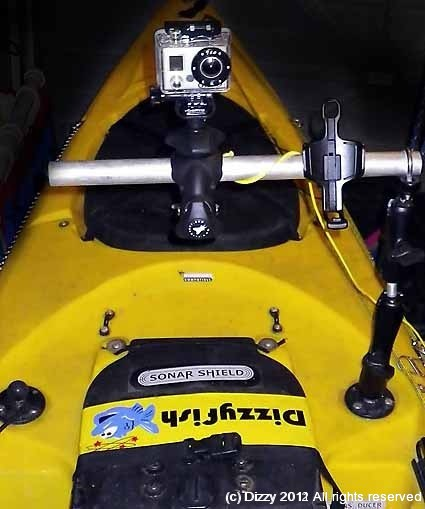 Flymount and GoPro mounted on the kayak