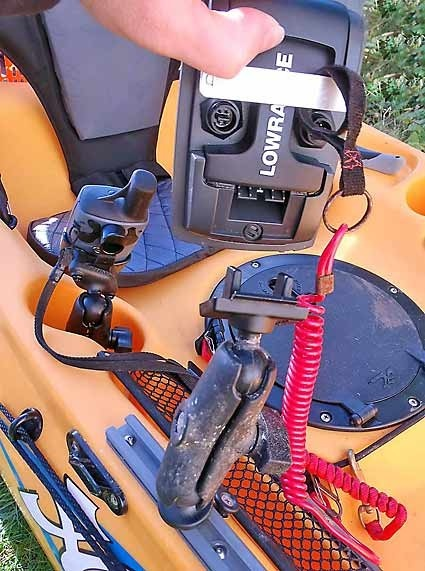 hobie revolution kayak fishfinder mount dizzyfish kayak fishing